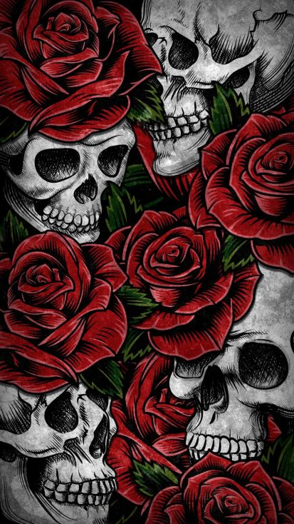 Roses and Skulls iPhone Wallpaper