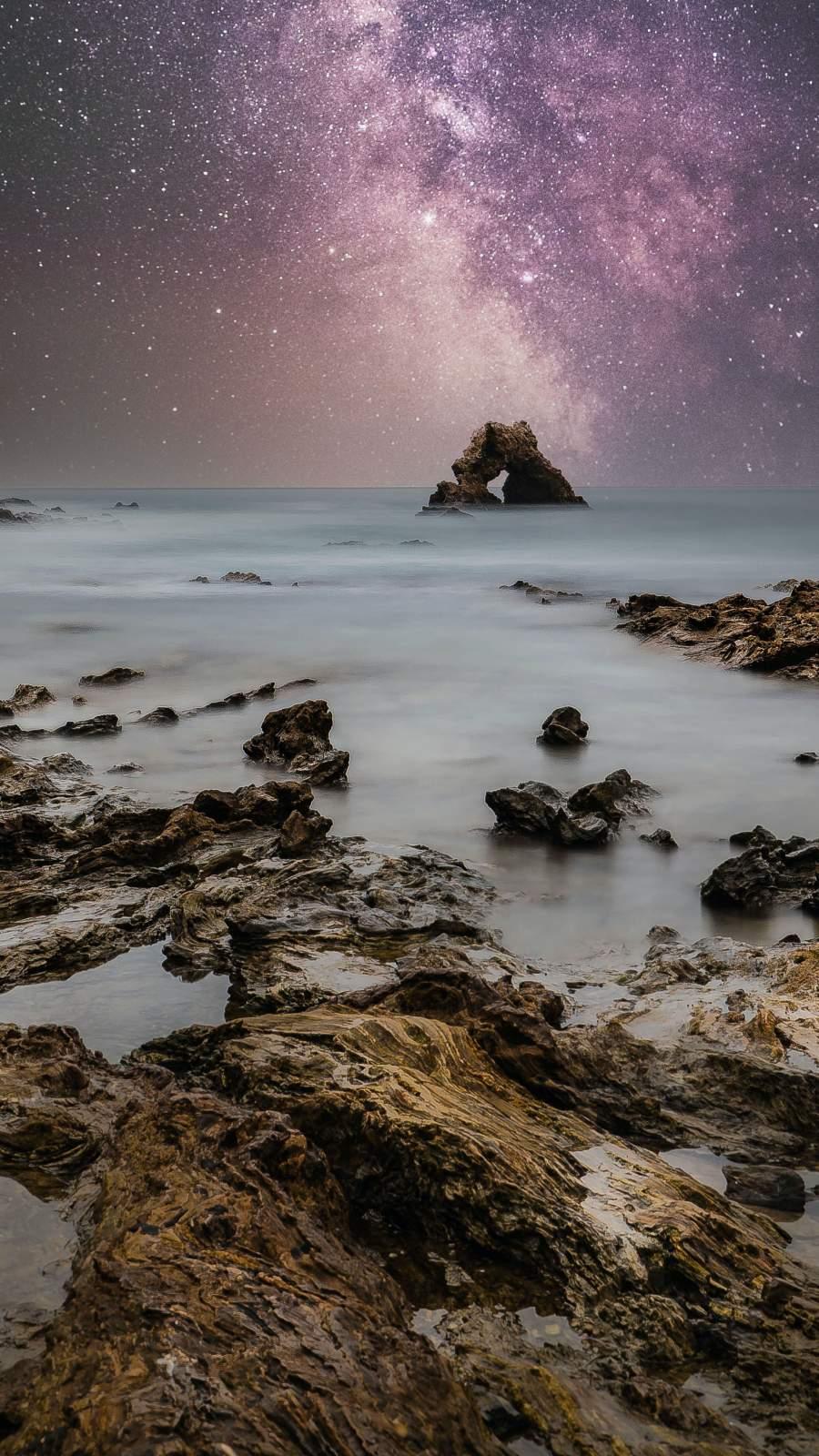 Starry Sky Ocean Rocks