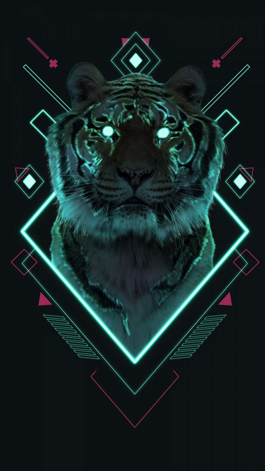 Tiger Neon Abstract