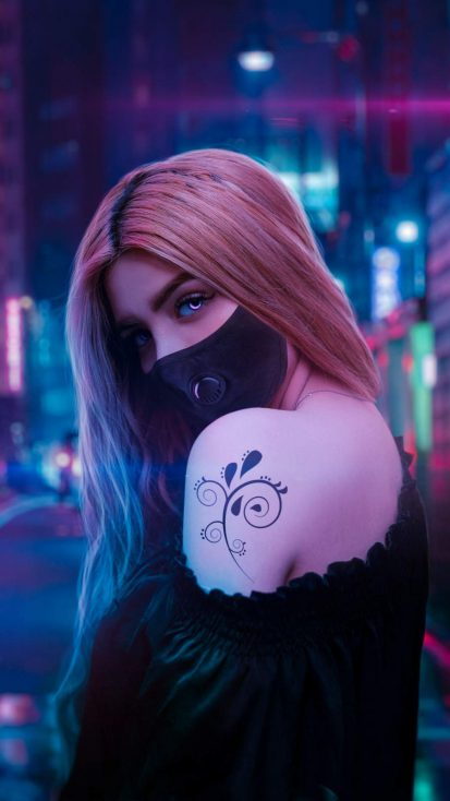Urban Girl Masked iPhone Wallpaper