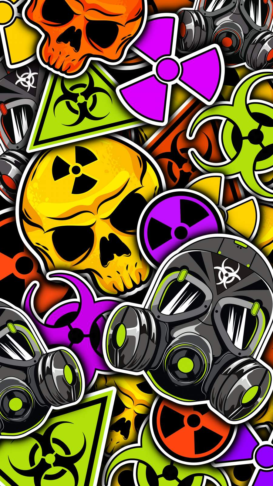 Warning Stickers iPhone Wallpaper