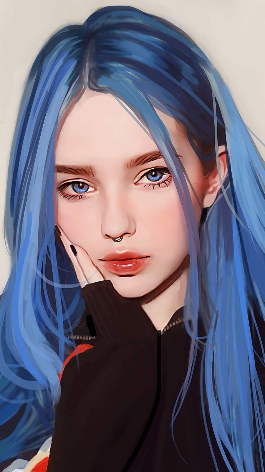 Blue Hairs Girl iPhone Wallpaper