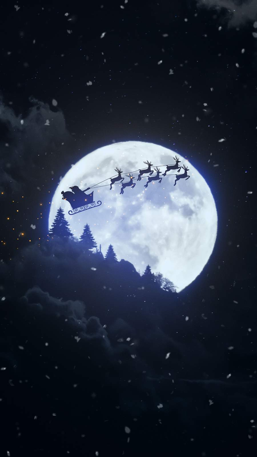 Christmas Moon iPhone Wallpaper