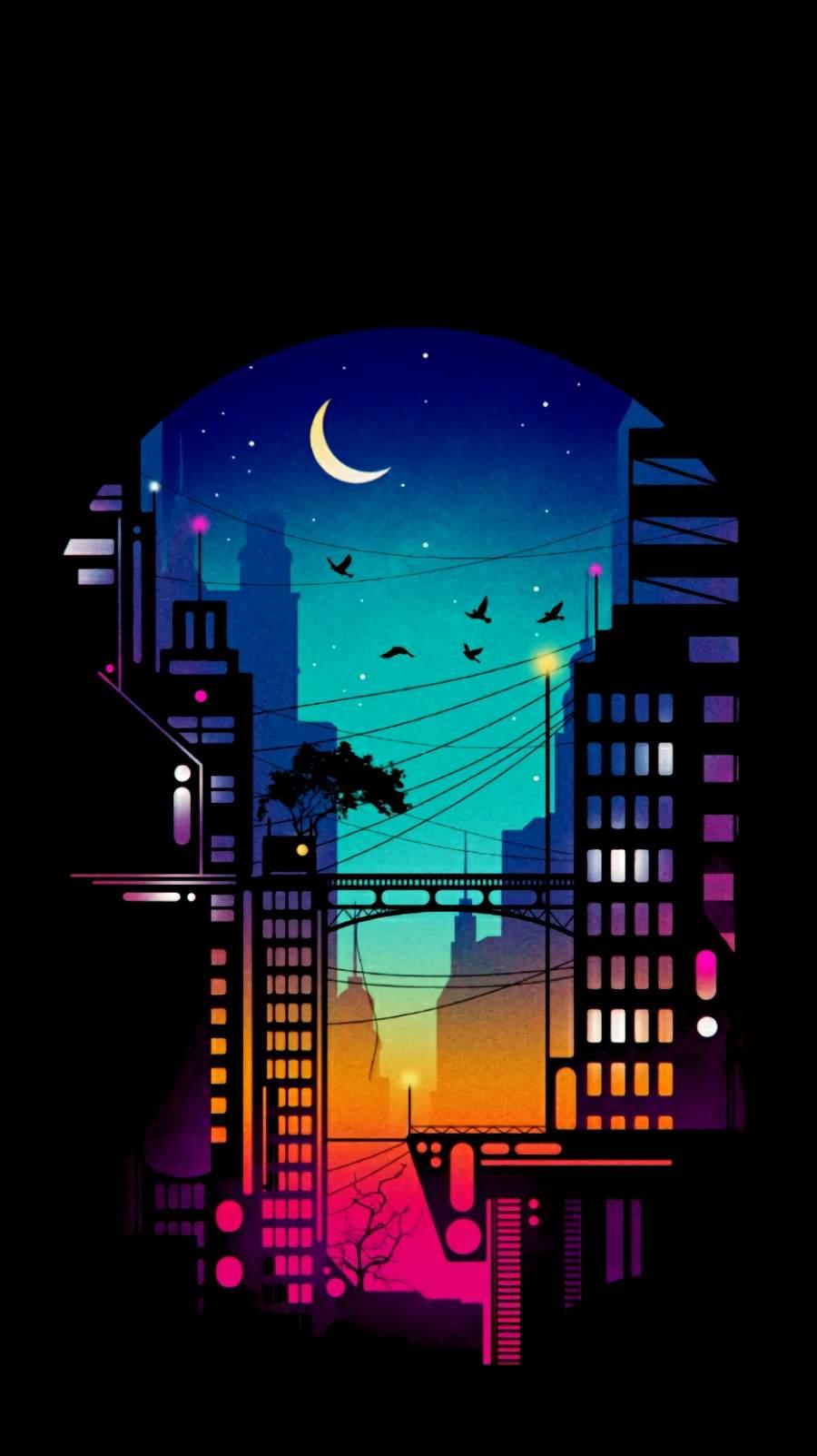 City at Night iPhone Wallpaper
