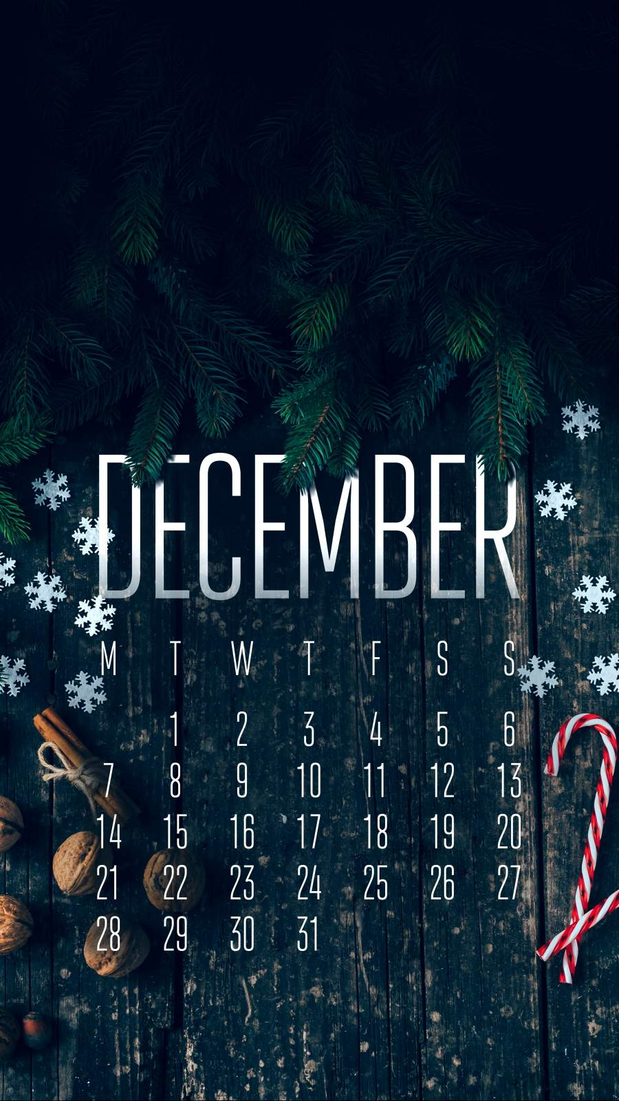 December Calendar iPhone Wallpaper