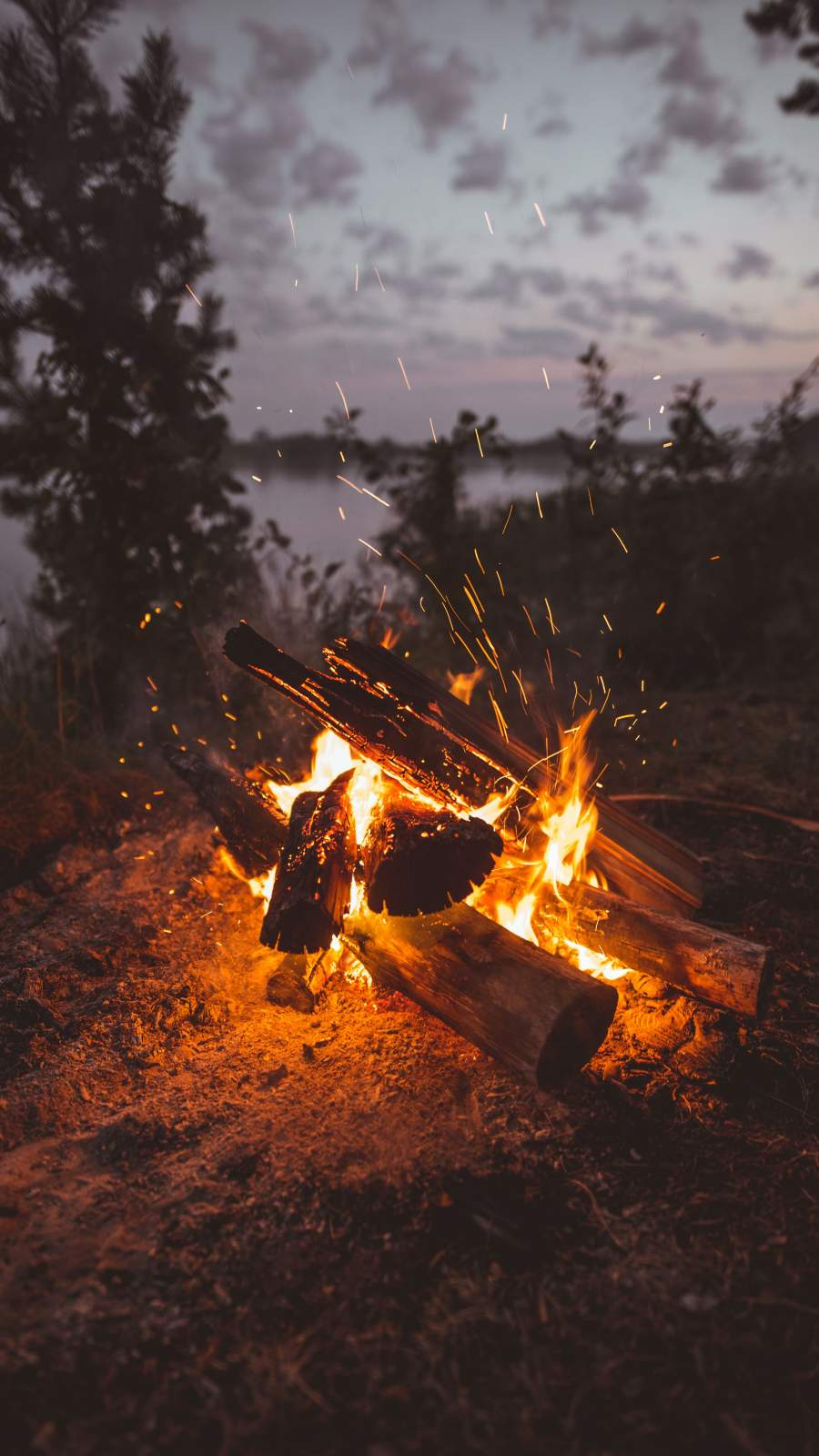 Firewood Burning iPhone Wallpaper