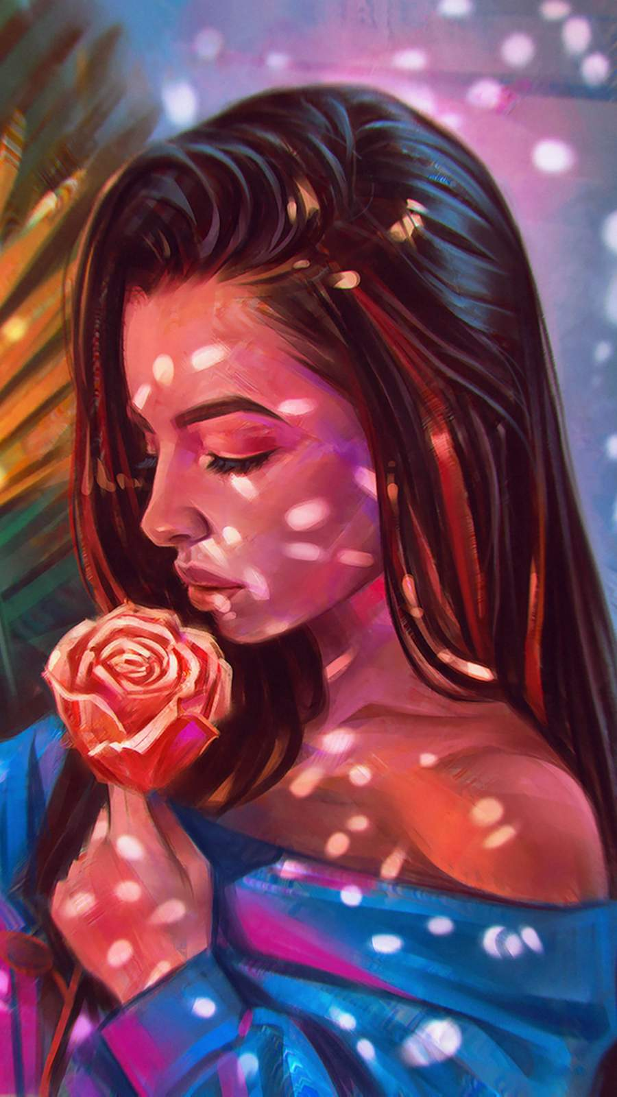 Girl with Rose Art