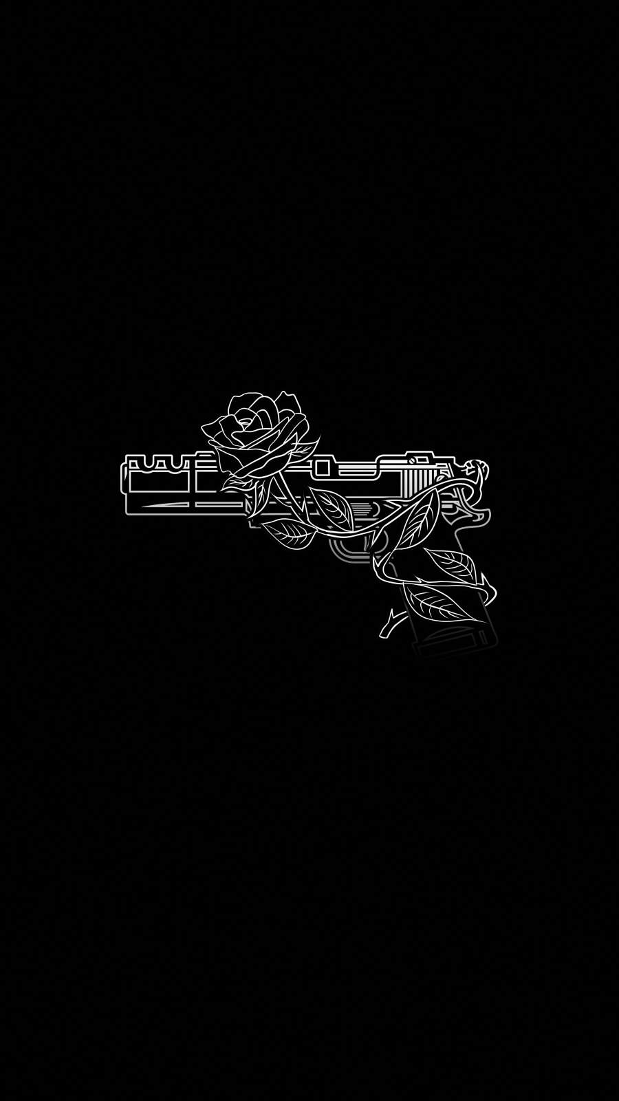 Gun and Rose iPhone Wallpaper