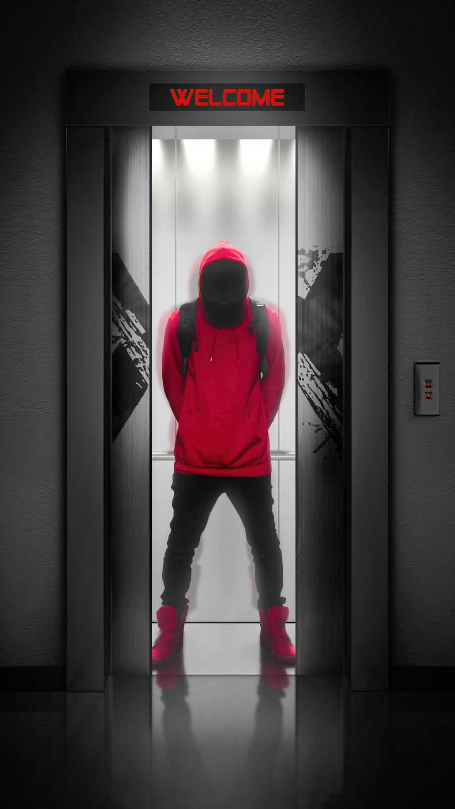 Hoodie Guy in Elevator