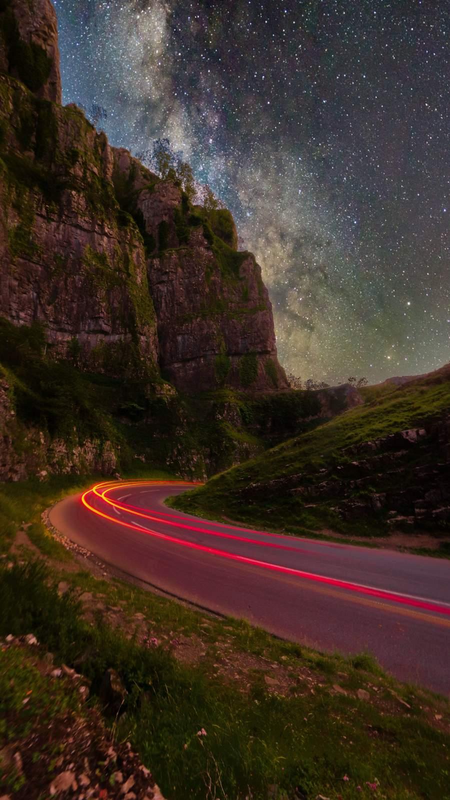 Long Exposure Night Road Sky