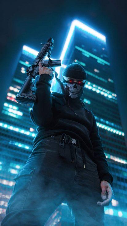 Masked Gangster iPhone Wallpaper