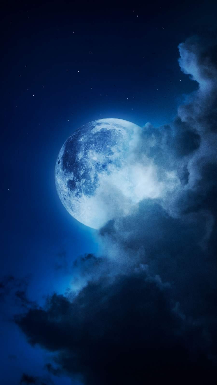 Moon in Cloud iPhone Wallpaper