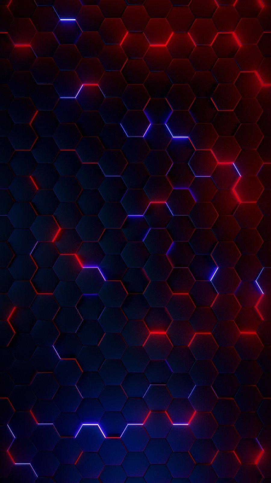 Neon Hexagon iPhone Wallpaper
