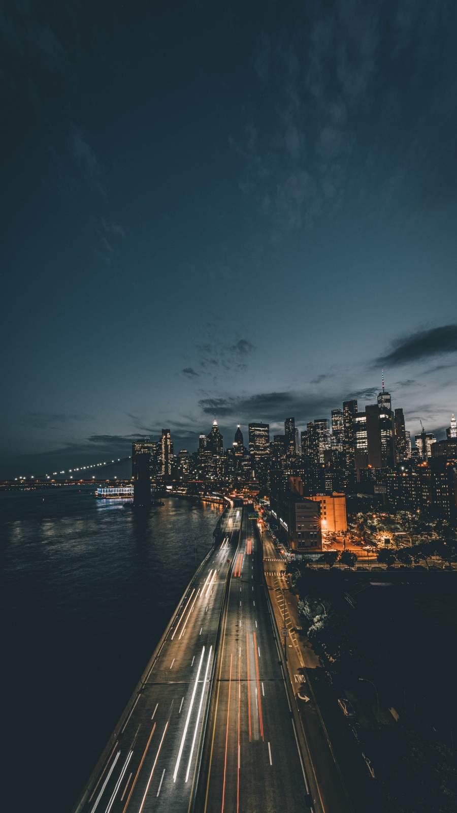 Night City Road Long Exposure
