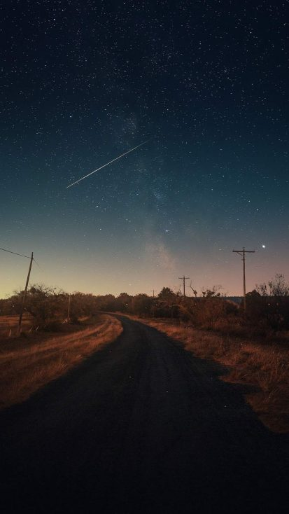 Night Sky Road iPhone Wallpaper