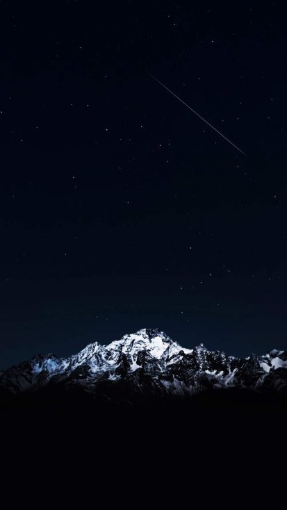 Night Sky Snow Peaks