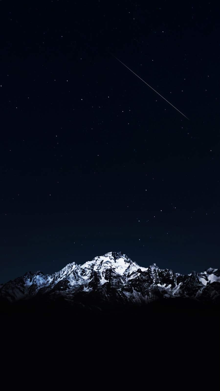 Night Sky Snow Peaks