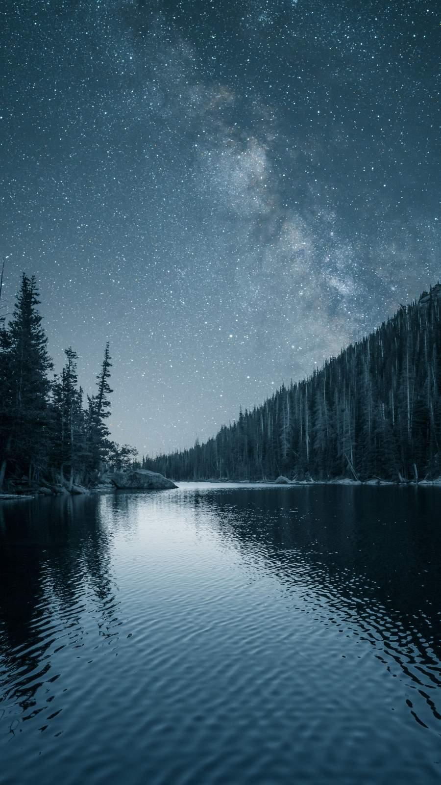 Night Stars View Reflection Lake