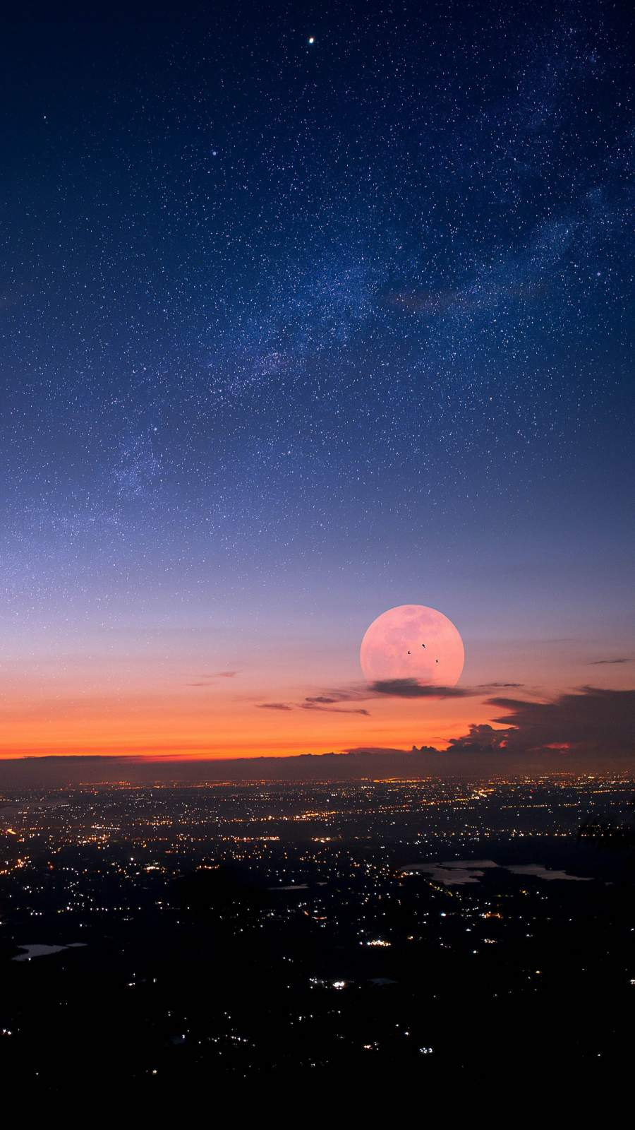 Sunset City Moon iPhone Wallpaper