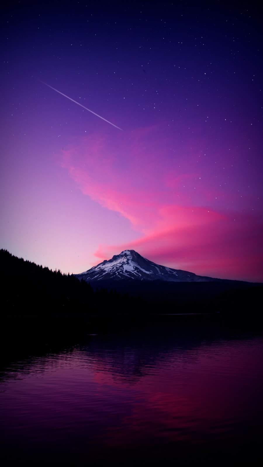 Sunset Snow Mountain Starry Sky