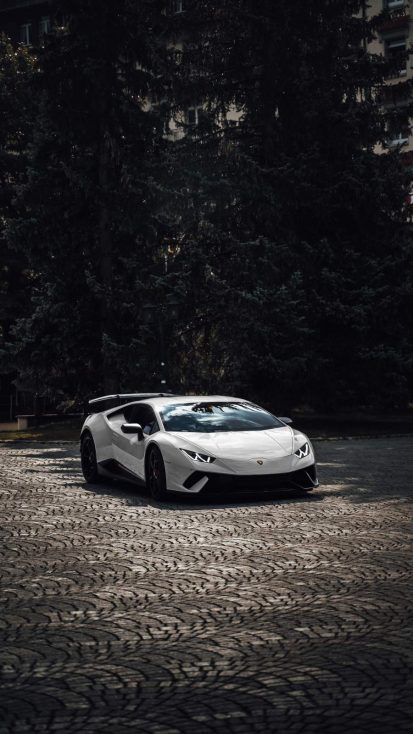 White Lambo iPhone Wallpaper