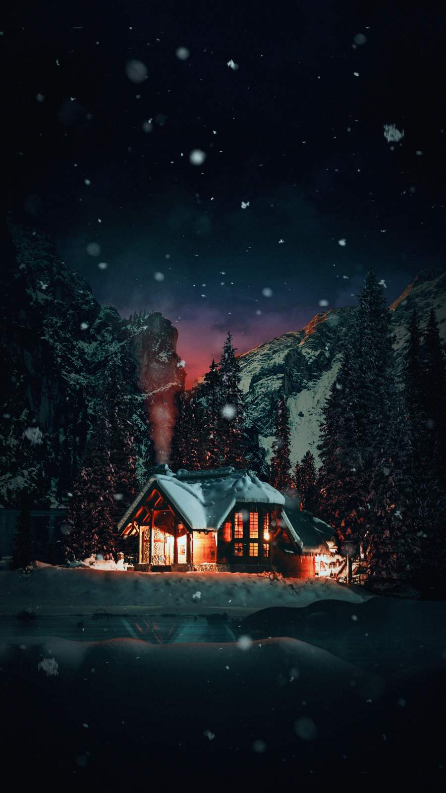 Winter House Snowfall iPhone Wallpaper