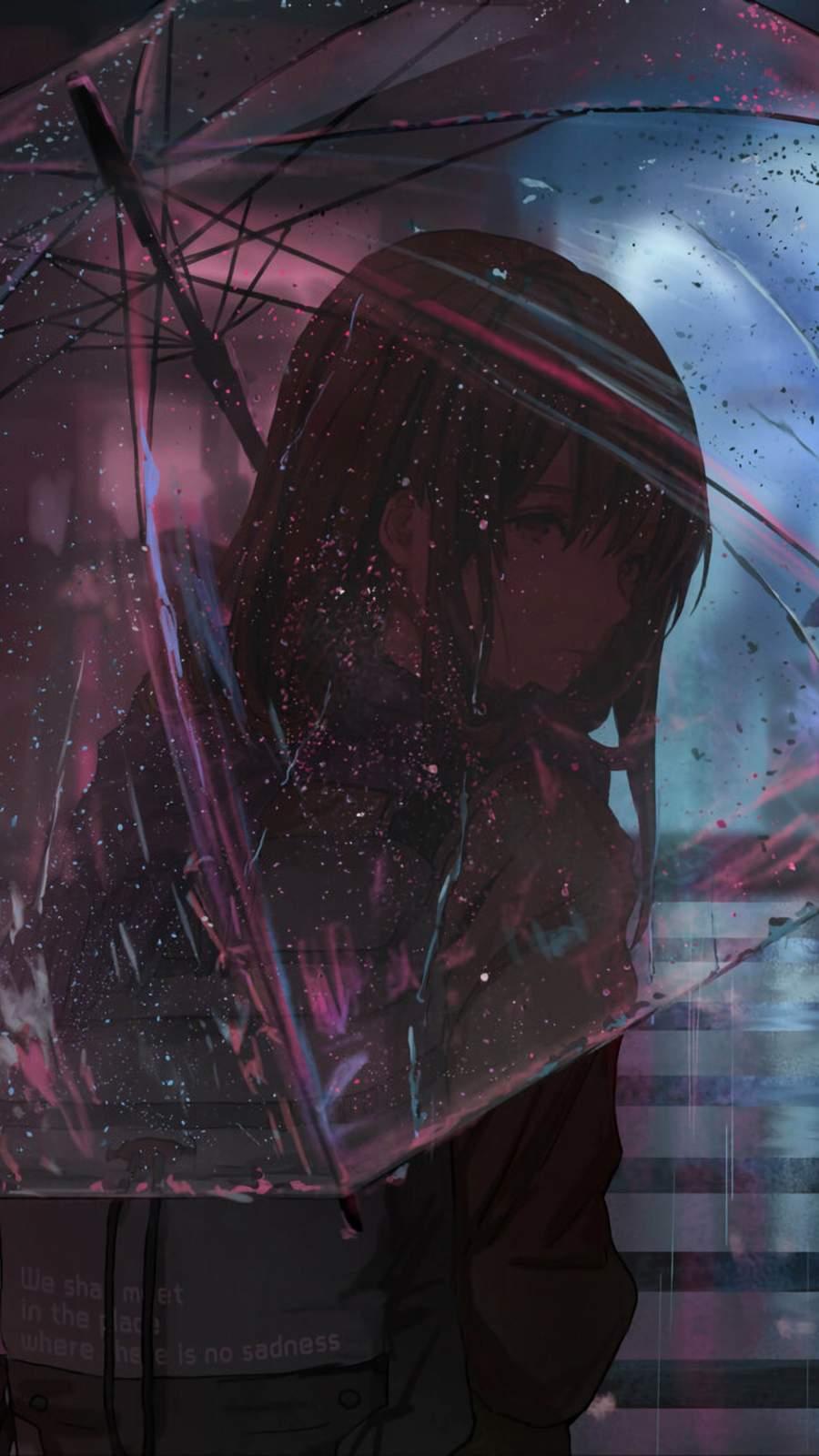 Anime Girl Umbrella iPhone Wallpaper
