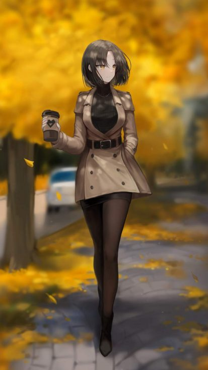 Anime Girl With Coffee iPhone Wallpaper