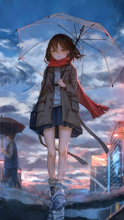 Anime Girl in Rain