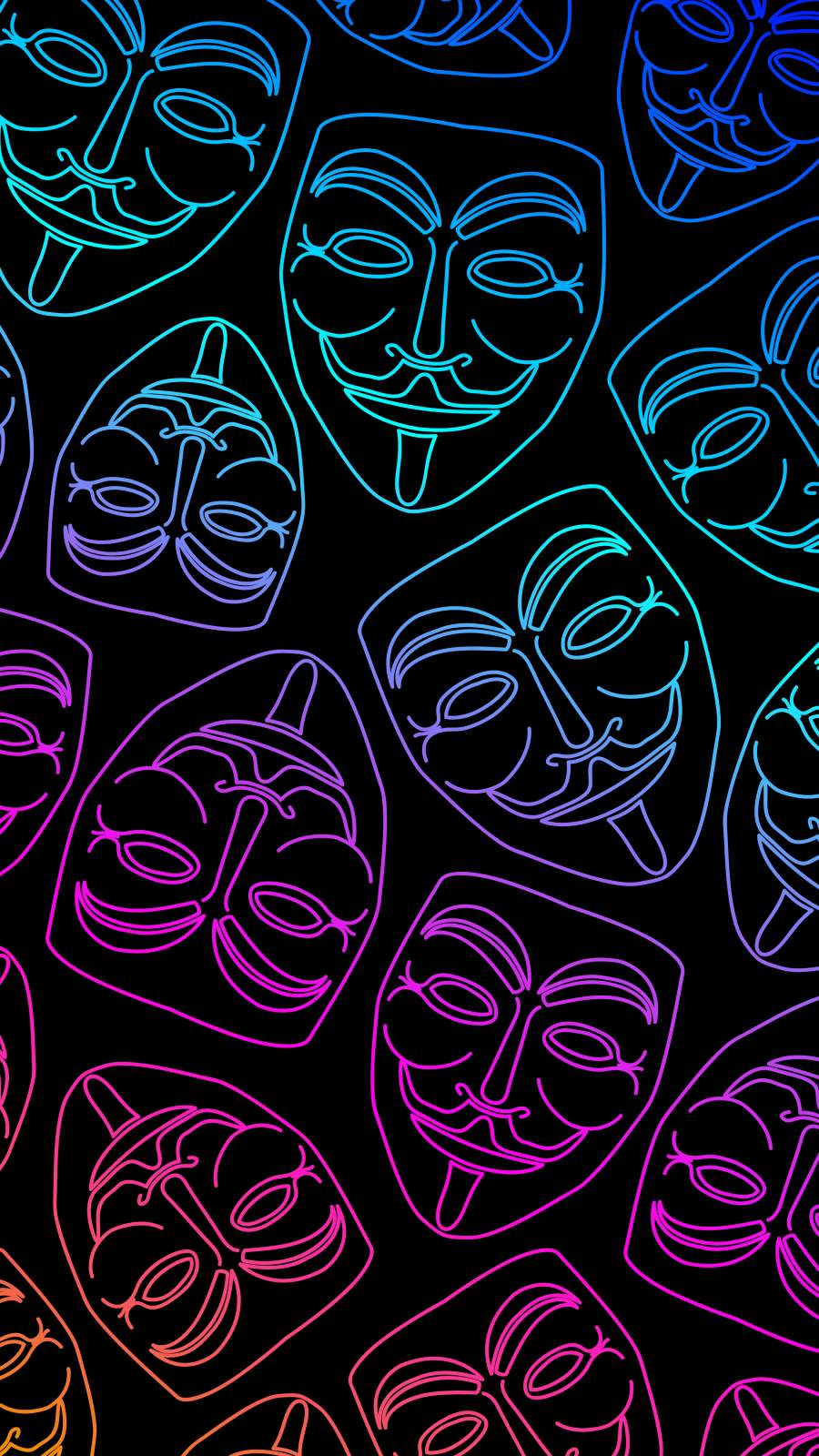 Anonymous Masks iPhone Wallpaper