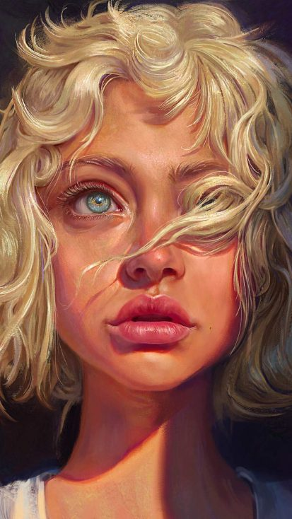 Blonde Girl Portrait Art