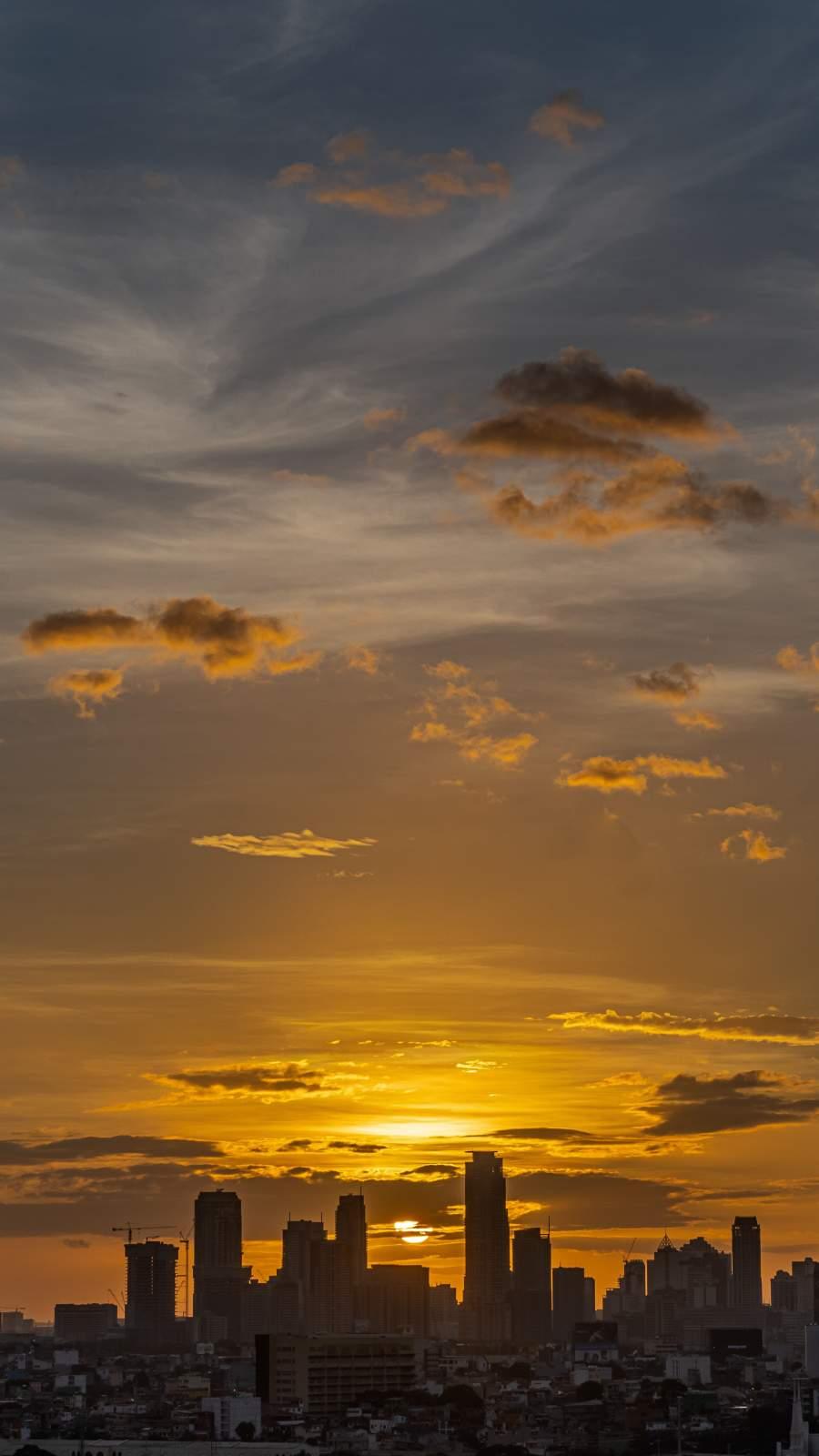 City Sunset Sky iPhone Wallpaper