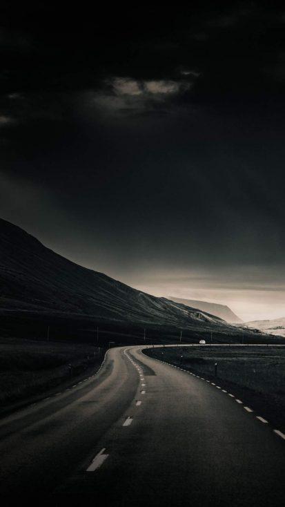 Dark Sky Road iPhone Wallpaper