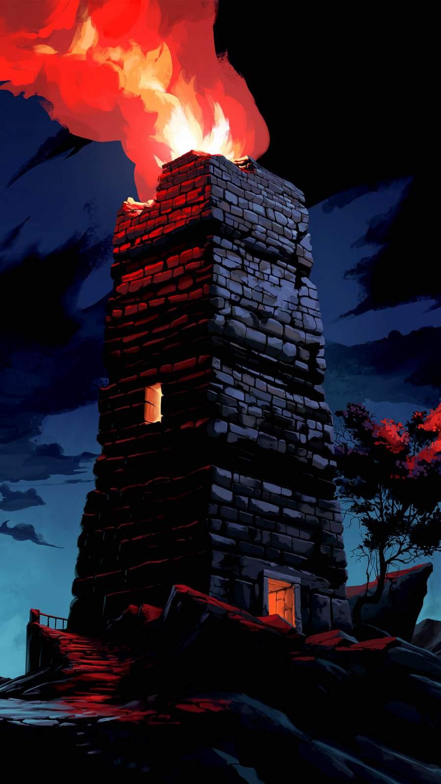 Fire Tower iPhone Wallpaper