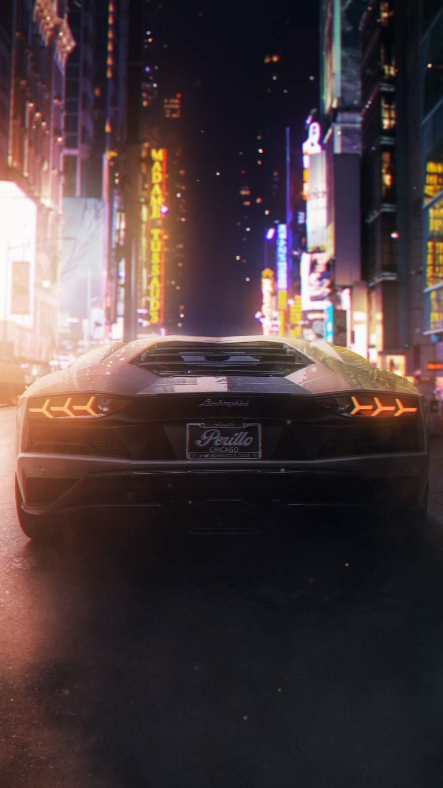 Lamborghini in Night iPhone Wallpaper