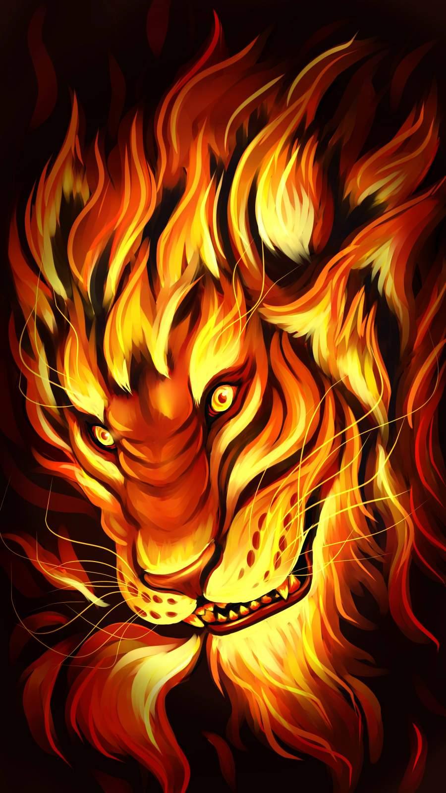 Lion Fire iPhone Wallpaper