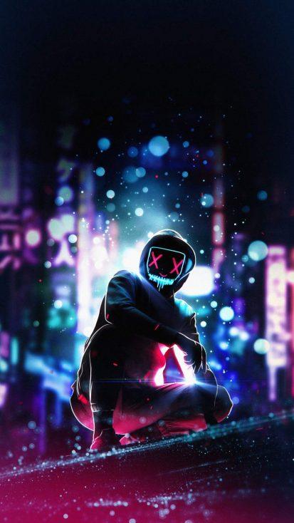 Masked Hoodie Neon Guy