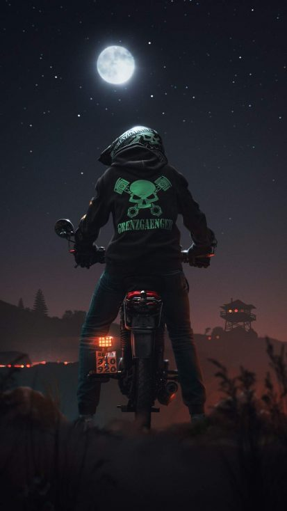 Midnight Biker iPhone Wallpaper
