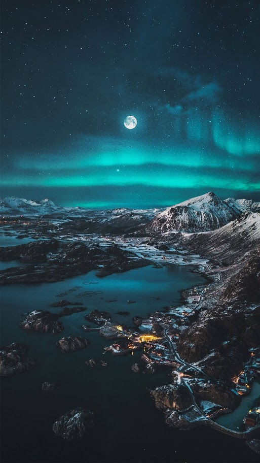 Moon Scenery Aurora Lights