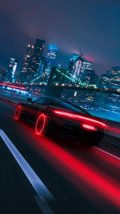 Neon City Fast Car iPhone Wallpaper
