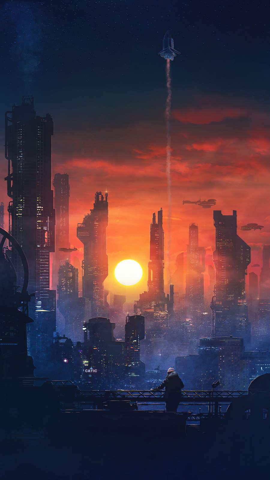 Neon City iPhone Wallpaper