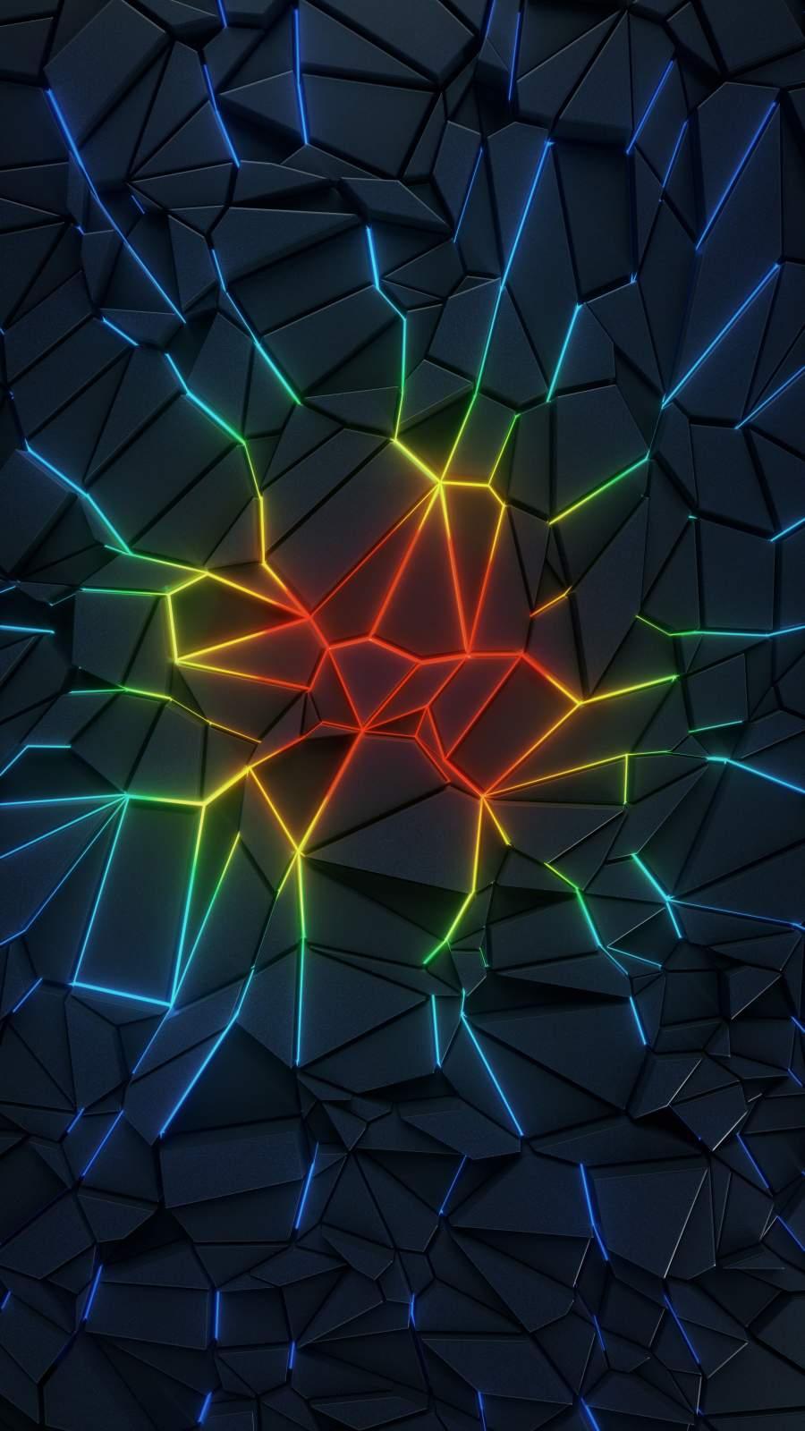 Neon Cracks iPhone Wallpaper