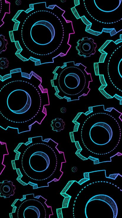 Neon Gears iPhone Wallpaper