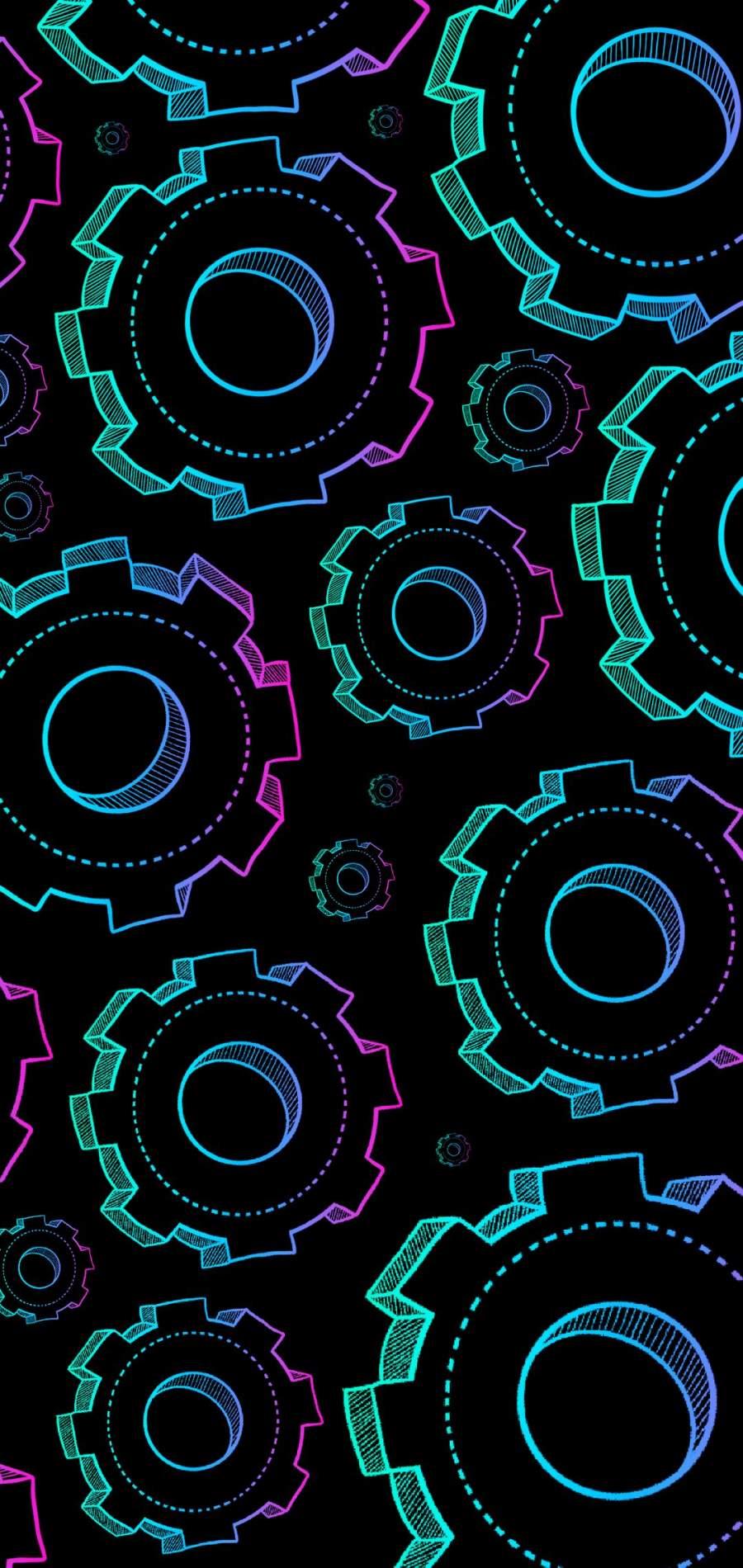 Neon Gears iPhone Wallpaper