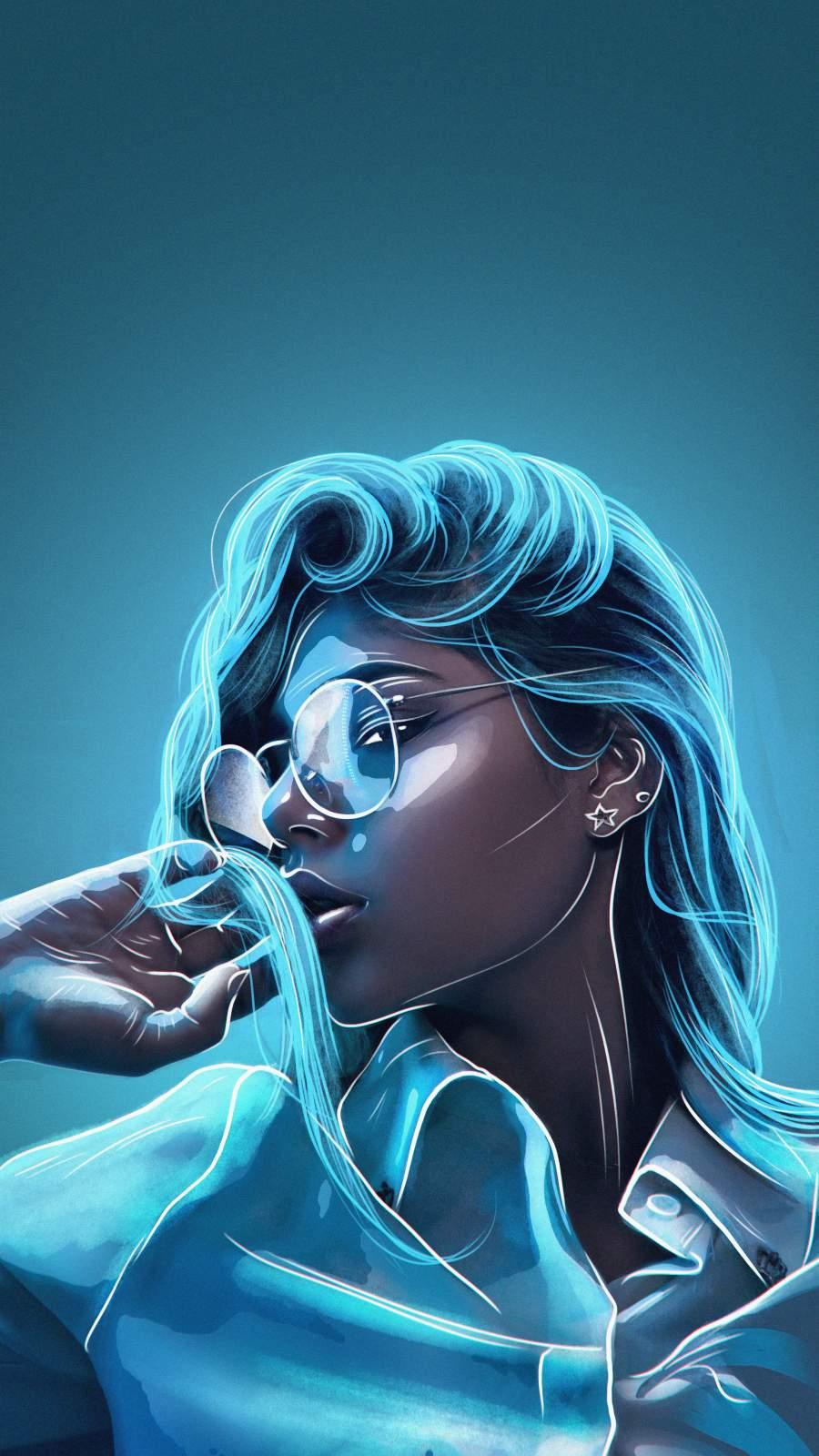 Neon Girl iPhone Wallpaper