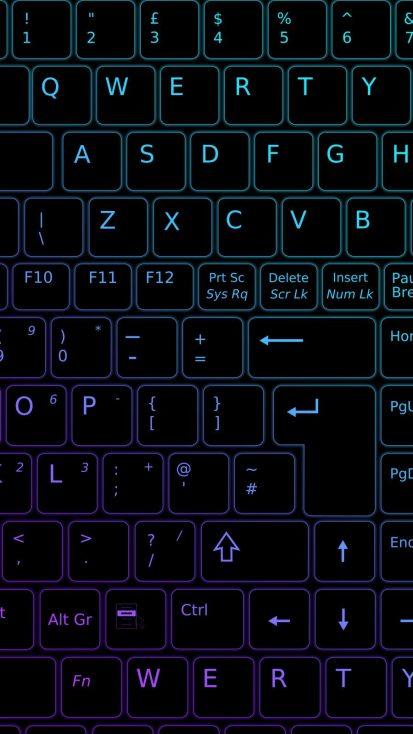 Neon Keyboard iPhone Wallpaper