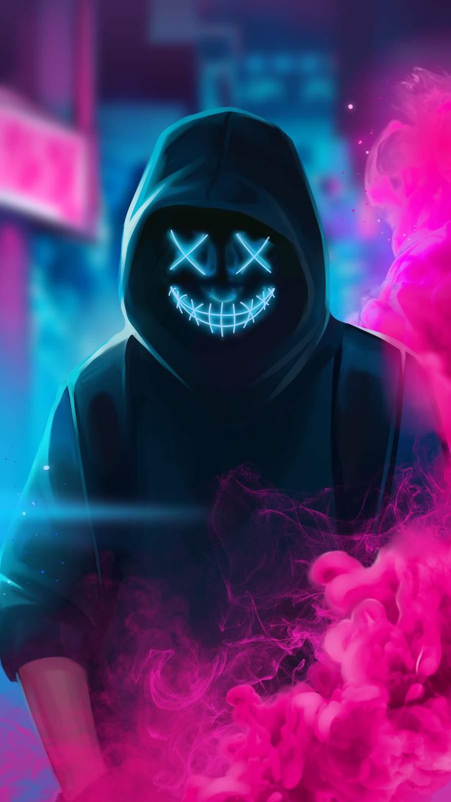 Neon Masked Hoodie Guy Smoke