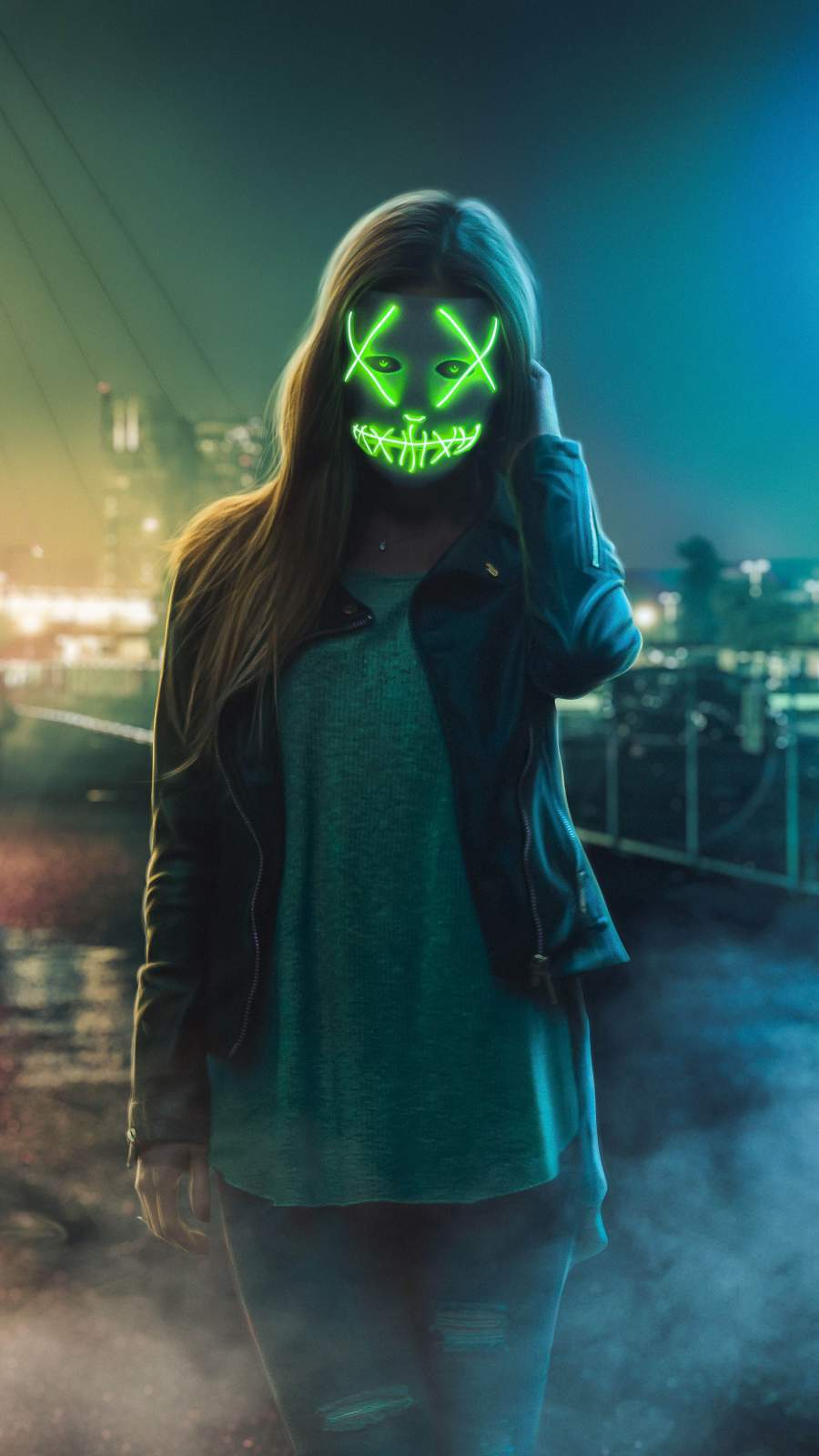 Neon Stitched Mask Girl