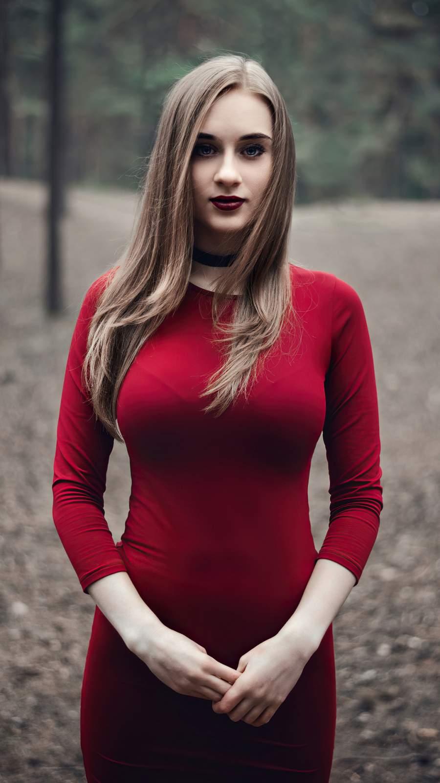 Red Dress Blonde Girl Outdoor