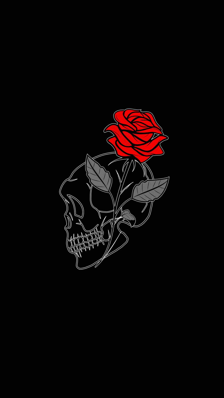 Rose Skull iPhone Wallpaper